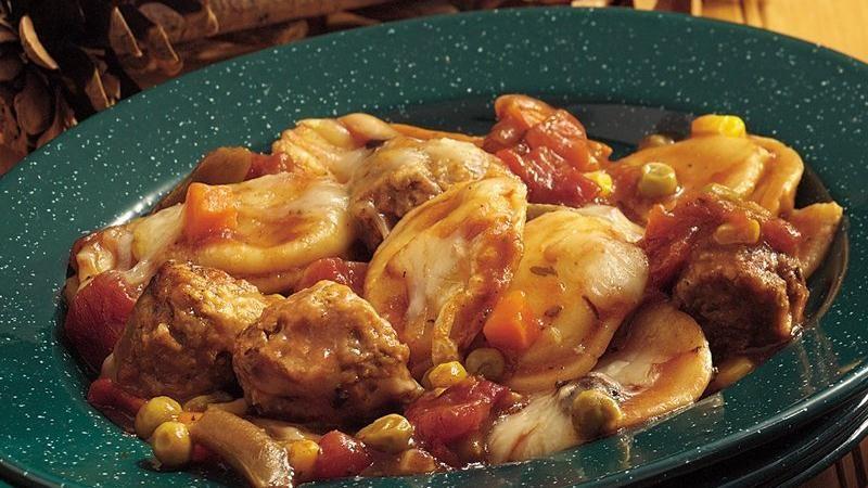Meatball and Ravioli Casserole