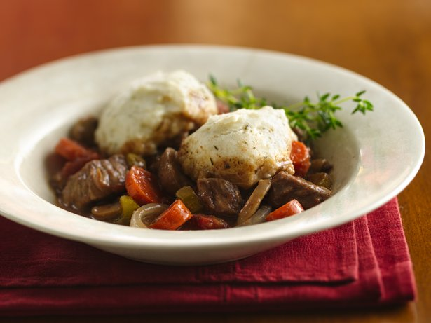 Slow Cooker Burgundy Stew with Herb Dumplings