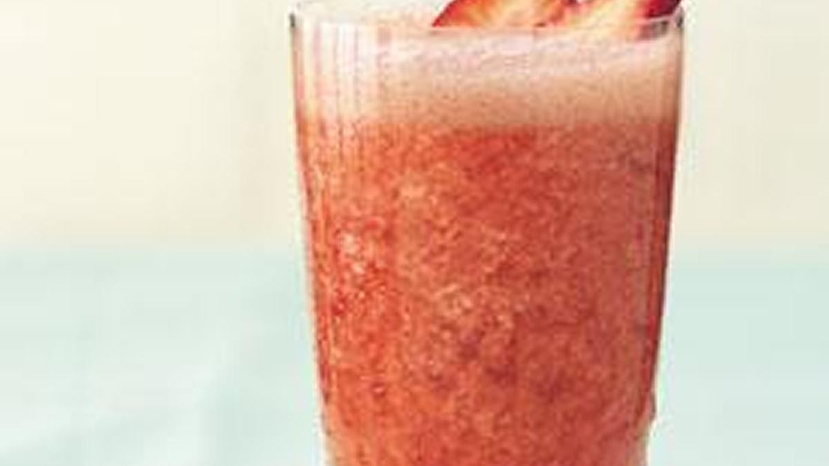 in a glass with this low-fat, vodka-spiked strawberry-rhubarb slush ...
