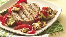 Basil-Tuna Steaks and Vegetables Recipe