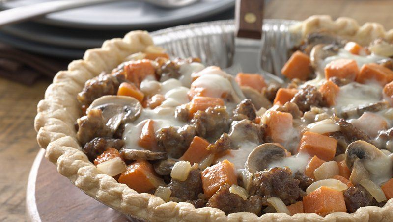 Cheesy Sausage and Sweet Potato Pie