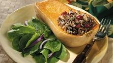 Honey-Walnut-Wild Rice Stuffed Butternut Squash Recipe