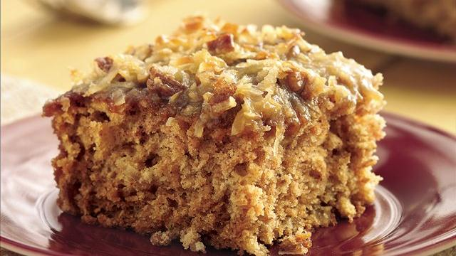 Image of Applesauce Oatmeal Cake With Broiled Coconut Topping, Pillsbury