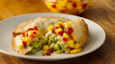 Gluten-Free Baked Samosas with a Red Pepper, Mango and Mint Chutney