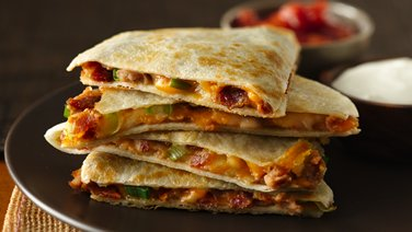Cheesy Bacon Bean Quesadillas