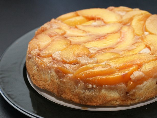 Peach Upside-Down Cake on the Grill