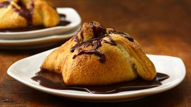Chocolate-Filled Pillows with Chocolate Sauce