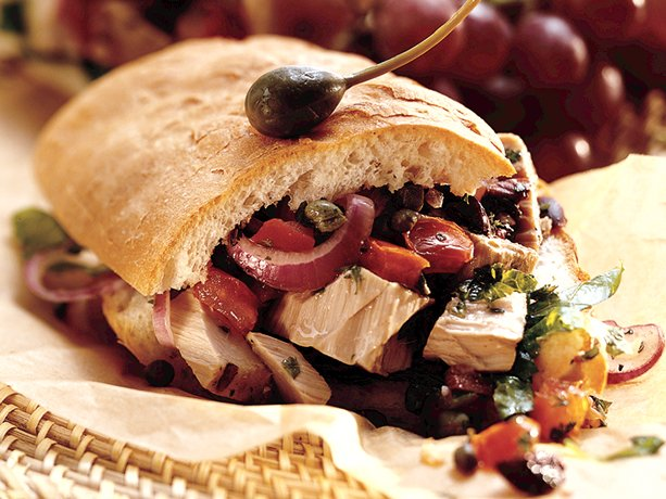 Mediterranean Grilled Tuna Sandwich