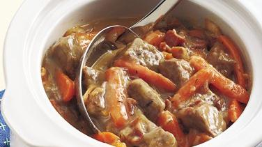 Slow-Cooker Beef and Bacon Stew for Two