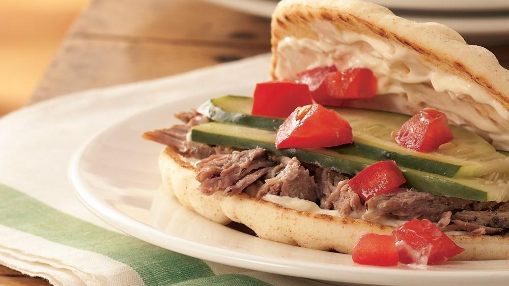 Slow-Cooker Greek Pork Sandwiches