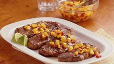 Strip Steaks with Mango-Peach Salsa Recipe