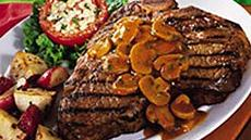 Grilled T-Bones with Mushroom Sauce Recipe