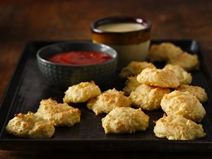 Cheddar Parmesan Puffs with Dipping Sauces