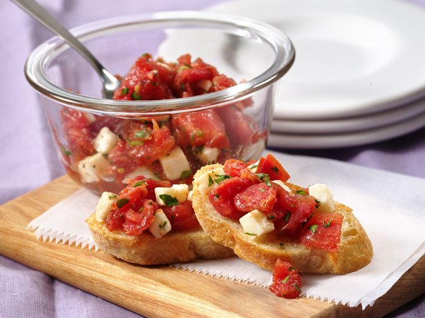 Garlic Crostini with Fresh Mozzarella