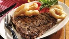 Grilled T-Bone Steaks with Onion Rings Recipe