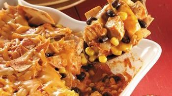 Chicken, Black Bean and Corn Enchilada Casserole