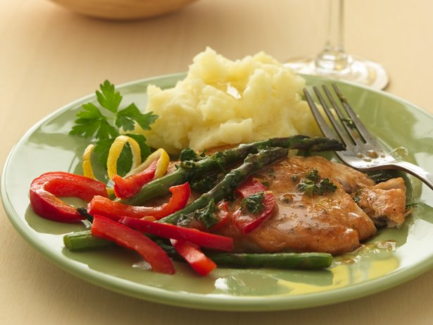 Sauted Turkey Cutlets with Asparagus and Red Bell Peppers