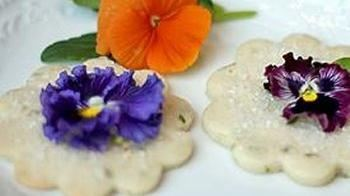 Lemon Basil Shortbread Cookies with Edible Flower Garnish