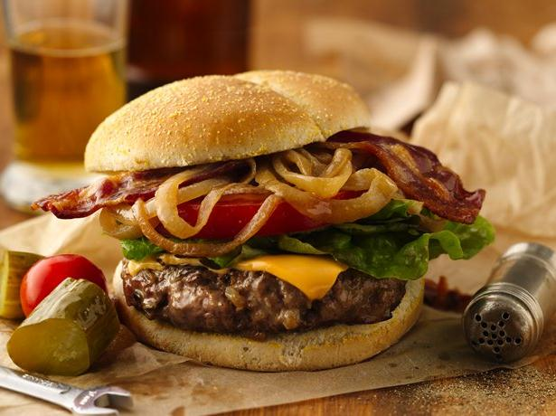 Caramelized Beer-Onion and Bacon Burgers