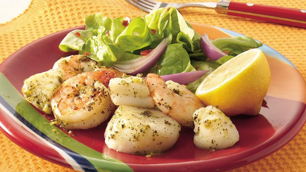 Grilled Lemon-Pesto Shrimp and Scallops