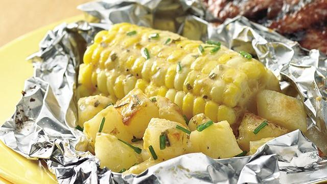 Grilled Béarnaise Corn and Potato Packs