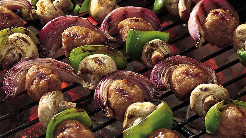 Grilled Sweet and Sour Meatball Kabobs