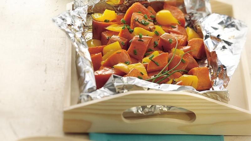 Grilled Sweet Potato and Pepper Packs