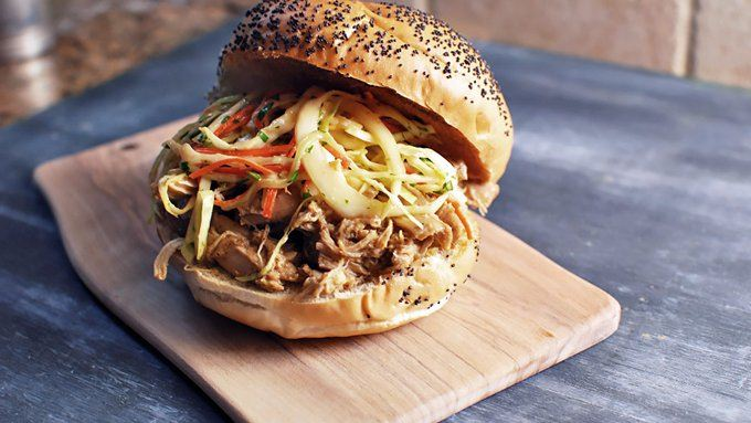 Slow Cooker BBQ Pulled Chicken Sandwich recipe - from Tablespoon!