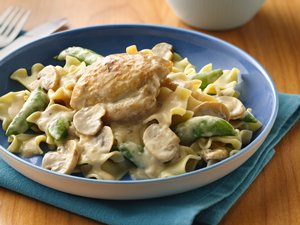 Saucy Chicken Thighs with Mushrooms and Pea Pods