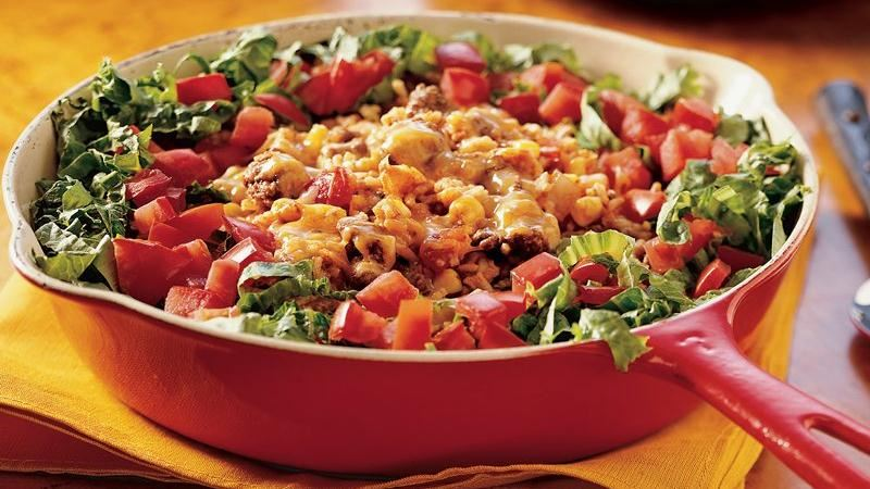 Beef Taco Rice Skillet recipe from Betty Crocker