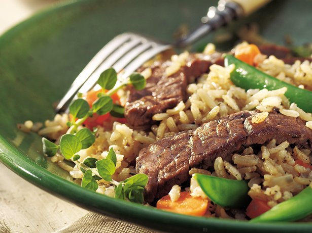 Skillet Beef, Veggies and Brown Rice
