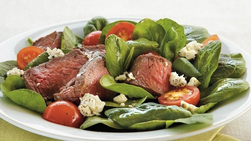 Steak and Feta Spinach Salad