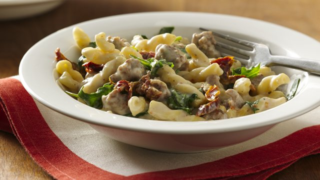 Italian Sausage and Pasta in Basil Cream Sauce