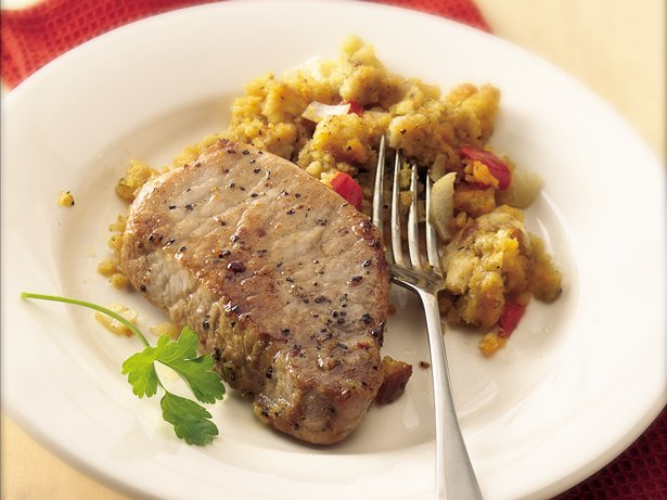 Slow Cooker Pork Chops with Cheesy Corn Bread Stuffing