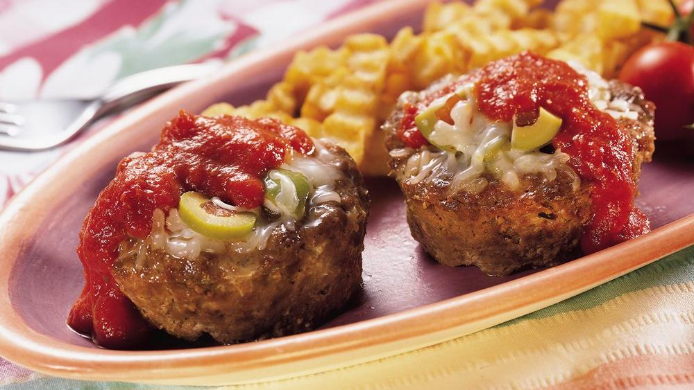 Olive-Cheese-Stuffed Meat Cups