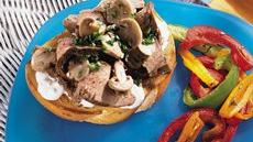 Flank Steak and Mushrooms on Sourdough Bread with Blue Cheese Sauce Recipe
