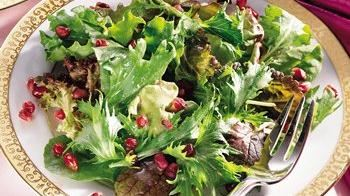 Winter Greens with Pomegranate-Champagne Vinaigrette