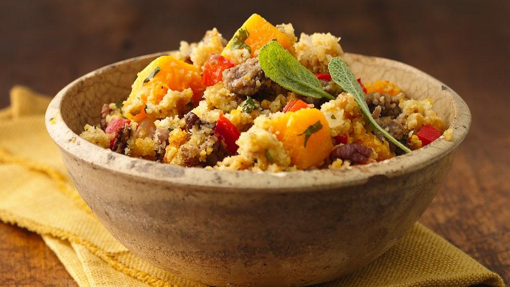 Southwest Cornbread, Squash and Sausage Dressing