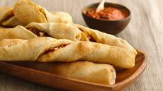Mediterranean Breadsticks with Roasted Red Pepper Coulis Recipe