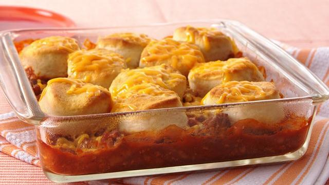 Beef 'n Beans with Cheesy Biscuits