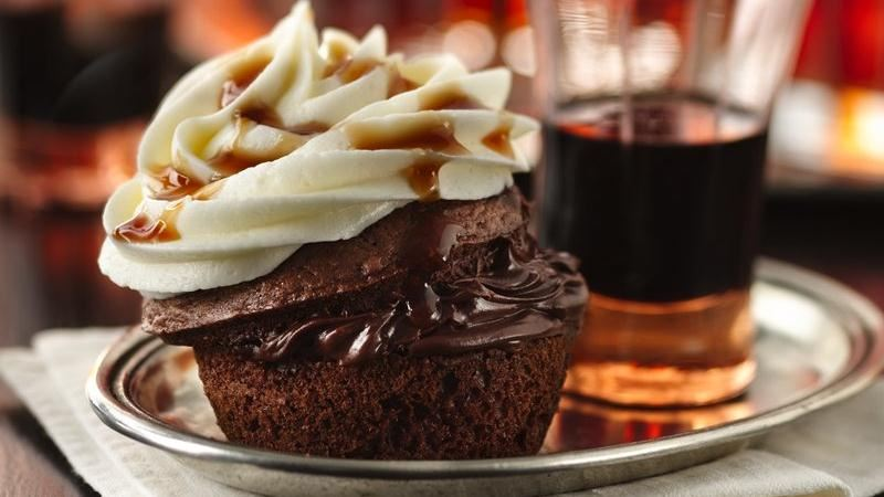 Boozy Bourbon Chocolate Cupcakes recipe from Betty Crocker