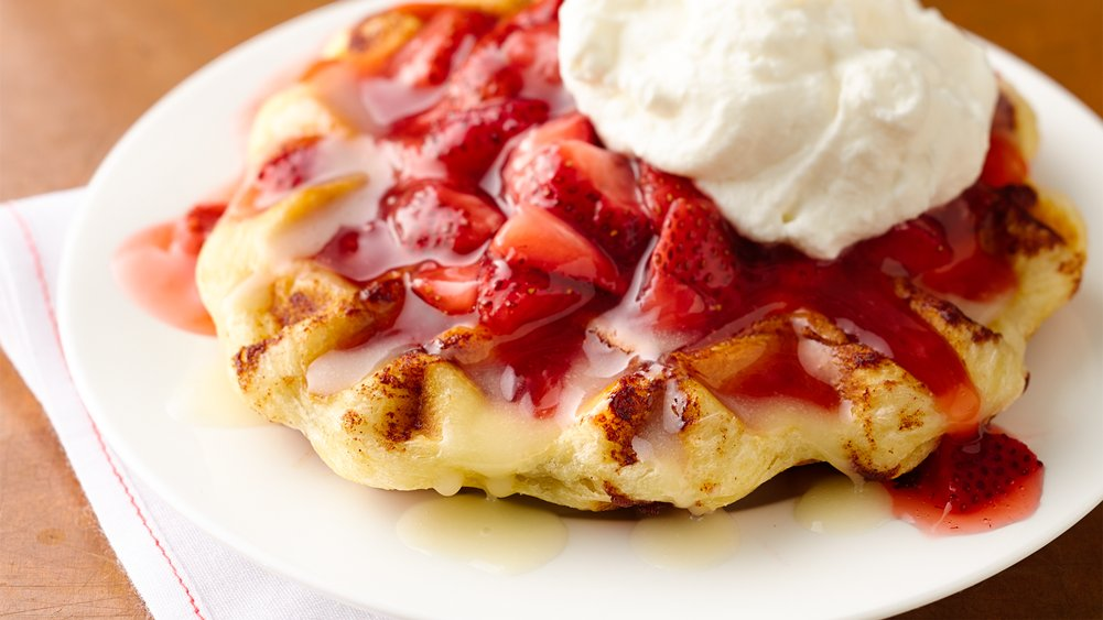 Strawberry-Cinnamon Roll Belgian Waffles recipe from Pillsbury.com