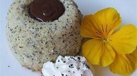 Warm Lemon Poppy Seed Cake With Chocolate Ganache Center