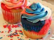 "Red, White and Blue ""Tie-Dye"" Jumbo Cupcakes"