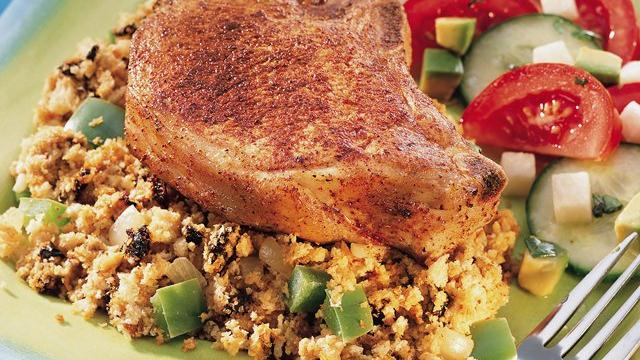 Pork Chops with Ancho Chile Cornbread Stuffing