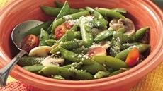Basil-Sugar Snap Peas with Mushrooms Recipe