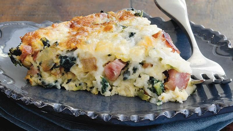 Spicy Ham and Greens Quiche