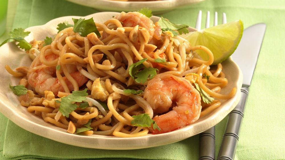 Shrimp Pad Thai On The Lighter Side Recipes — Dishmaps