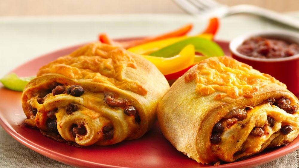 Beef and Bean Crescent Burritos