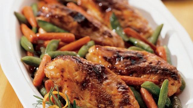 Orange-Hoisin Glazed Roasted Chicken and Vegetables